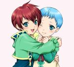 asbel_lhant blue_eyes blue_hair blush brothers child coat hubert_ozwell hug male multiple_boys red_hair redhead simple_background smile tales_of_(series) tales_of_graces usaginagomu white_background wink young