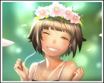 bare_shoulders blunt_bangs brown_eyes brown_hair bust camisole cherry_blossoms earbuds earphones gachini grin head_tilt head_wreath highres short_hair smile to_aru_kagaku_no_railgun to_aru_majutsu_no_index uiharu_kazari wink