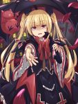 blazblue blonde_hair dress gii highres holding kareha_aki long_hair open_mouth outstretched_arm pink_eyes rachel_alucard slit_pupils solo twintails umbrella