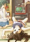 barefoot brown_eyes brown_hair controller famicom feet game_controller glasses green_eyes green_hair highres kokeshi long_hair looking_at_viewer lying multiple_girls nes nintendo on_back original playing_games short_hair shorts sitting skirt smile soles television upside-down video_game yaman
