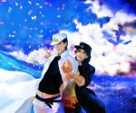 2boys black_hair cosplay gakuran green_eyes hair_down hat higashikata_jousuke highres jojo_no_kimyou_na_bouken kuujou_joutarou kuujou_joutarou_(cosplay) lacuna1479 long_coat multiple_boys pointing school_uniform v violet_eyes