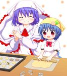 :d ^_^ alternate_costume alternate_headwear apron baking baking_sheet bebelona blue_hair blush bow child closed_eyes cookie cookie_cutter cookie_cutters cooking counter dough food fruit hair_ornament hairclip head_scarf hinanawi_tenshi kerchief long_sleeves multiple_girls nagae_iku open_mouth peach red_eyes rolling_pin shawl shirt short_hair short_sleeves smile touhou young