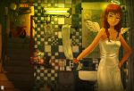 angel angel_wings armpits bare_shoulders brown_eyes brown_hair can collarbone corded_phone directional_arrow drawings dress english expressionless fluorescent_lamp halo hand_on_hip head_tilt hips inukoko lamp long_hair mirror motor_vehicle nixie_tube original phone plant potted_plant reflection scooter sink sleeveless sleeveless_dress smiley_face solo stairs standing television tiles towel vehicle wings