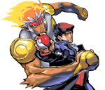 2boys beret hat infernape jojo_no_kimyou_na_bouken kouki_(pokemon) kuujou_joutarou multiple_boys parody poke_ball pokemon pokemon_(game) pokemon_dppt puchidori stand_(jojo) star_platinum