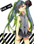 bandaid english haru_(oomr005) hatsune_miku long_hair necktie profanity skirt solo twintails very_long_hair vocaloid