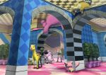 1girl akane_(pokemon) arch bibarel checkered clefable girafarig gym_leader higashiyama_hayato lickilicky milk miltank nintendo pokemon pokemon_(creature) polka_dot shorts skitty stairs striped striped_thighhighs thigh-highs tree