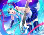 aqua_eyes aqua_hair beach guitar hachune_miku hair_ribbon hatsune_miku instrument long_hair mamoru multicolored_hair purple_hair ribbon skirt sky smile solo strat(guitar) sun thigh-highs thighhighs twintails very_long_hair vocaloid zettai_ryouiki