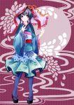 blue_eyes blue_hair blue_legwear flower japanese_clothes kaedena_akino kimono long_hair original pantyhose smile solo tabi twintails