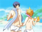 ass blonde_hair blue_hair chika_(piapro) kagamine_len kaito male multiple_boys naked_towel rubber_duck scarf shampoo_hat shitsuki_chika shower_cap sweatdrop towel vocaloid