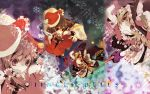 blonde_hair broom broom_riding brown_hair capelet christmas detached_sleeves flying hakurei_reimu hand_on_hat hat highres holly kirisame_marisa orange_eyes red_eyes santa_hat star touhou wallpaper witch_hat zoom_layer