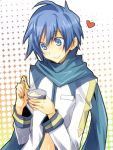 bad_id blue_eyes blue_hair blush eating food heart ice_cream kaito male mikippa scarf smile solo vocaloid