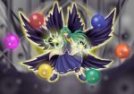 crescent crescent_moon green_eyes green_hair highres mima raisondetre touhou wings