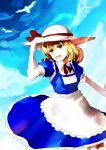 apron bird blonde_hair bow clouds dress elbow_gloves frills gloves hair_bow happy hat hat_ribbon kana_anaberal looking_up o_kawa open_mouth outstretched_arm ribbon short_hair short_sleeves sky solo touhou touhou_(pc-98) yellow_eyes