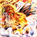 beast clouds entei epic fangs fire highres lion no_humans pokemon red_eyes smoke solo spikes