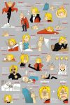 :< ahoge alphonse_elric angry bandage bandages bed bleeding blonde_hair blood blush bread bruise bugged_eyes butterfly coat crying eating edward_elric expressions eye_pop flower food fullmetal_alchemist giving_up_the_ghost grey_background hair_pull head_bump highres hot injury male mouth_hold mushroom o3o official_style shaded_face sharp_teeth sparkle straw streaming_tears sweat tears translation_request