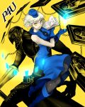 black_legwear blue_gloves book boots dress elizabeth_(persona) floating_card gloves hat highres looking_at_viewer mega5155214x pantyhose persona persona_3 persona_4:_the_ultimate_in_mayonaka_arena short_hair sleeveless sleeveless_dress thanatos white_hair yellow_eyes