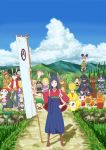 banner blue_sky cloud clouds highres japanese_clothes kari-kenji king_kazuma looking_at_viewer love_machine marsh_(artist) nobori shinohara_natsuki sky standing summer_wars