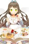 anmi bell book brown_hair cake card cookie dress eating food fork frills glowing glowing_eyes green_eyes grin hair_ribbon holding jewelry long_hair lowres necklace open_book pastry plate ribbon sitting smile solo sword_girls tea tongue very_long_hair wavy_hair wrist_cuffs