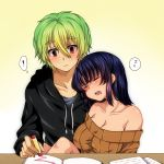 1boy 1girl bare_shoulders black_hair blush book breasts cleavage closed_eyes couple crayon drooling eyes_closed green_hair hoodie jinguu_shion leaning_on_person looking_at_another natsu_hotaru open_mouth original paper red_eyes ribbed_sweater short_hair simple_background sleeping sweater table z