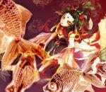 black_hair fish gin_ji green_eyes green_sclera japanese_clothes kimono original yellow_eyes yellow_sclera