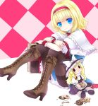 alice_margatroid black_legwear blonde_hair blue_eyes blush book boots capelet character_doll checkered cookie cross-laced_footwear food hairband kirisame_marisa kuroki_mashiro looking_at_viewer pantyhose short_hair sitting smile solo touhou wrist_cuffs