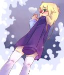 1girl blonde_hair glasses lowres rebecca_hopkins thighhighs white_legwear yu-gi-oh! yuu-gi-ou yuu-gi-ou_duel_monsters