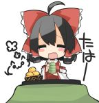 :d ^_^ ahoge black_hair blush_stickers bow chibi closed_eyes cup detached_sleeves eyes_closed fang hair_bow hair_tubes hakurei_reimu kotatsu miko oinari_(tensaizoku) open_mouth orange_hair short_hair smile solo table teacup touhou