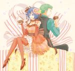 1girl alternate_costume back-to-back bare_shoulders blue_eyes blue_hair bow breasts brownies cake choker cleavage cupcake detached_sleeves dress eating food food_on_face frills fruit glasses green_hair high_heels kigisu matching_hair/eyes one_piece open_mouth ribbon roronoa_zoro shirt shoes sitting smile strawberry striped striped_clothes striped_legwear striped_shirt tashigi thigh-highs thighhighs vest