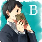 1boy bertholt_fubar black_eyes black_hair book casual covering_face hametusinn shingeki_no_kyojin solo sweatdrop sweater