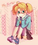 blonde_hair glasses green_eyes rebecca_hopkins school_uniform shoes skirt sneakers thigh-highs thighhighs yu-gi-oh! yuu-gi-ou yuu-gi-ou_duel_monsters