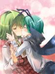2girls antennae ascot cape colored_eyelashes dress_shirt green_hair hand_on_another's_face kazami_yuuka kiss multiple_girls plaid plaid_skirt plaid_vest red_eyes shirt short_shorts shorts skirt touhou wriggle_nightbug yohane yuri