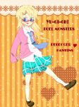 blonde_hair blue_eyes cardigan freckles glasses kneehighs long_hair necktie plaid plaid_skirt rebecca_hopkins skirt tongue yu-gi-oh! yuu-gi-ou yuu-gi-ou_duel_monsters