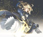 armor armored_dress blonde_hair excalibur fate/stay_night fate/zero fate_(series) gauntlets glowing glowing_weapon green_eyes hair_ribbon light_particles open_mouth puffy_sleeves ribbon saber sharakuryousuke shouting solo sword weapon