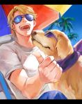 1boy 1other beach blonde_hair dog happy jeans john_(tiger_&_bunny) keith_goodman letterboxed male megane_(artist) outdoors palm_tree pet solo summer sunglasses t-shirt thumbs_up tiger_&_bunny tree umbrella