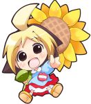 :d ahoge anzu_(hanamaru_youchien) blonde_hair brown_hair chibi child flower hanamaru_youchien kindergarten kindergarten_uniform kuroneko_(kuroneko_works) lowres multicolored_hair open_mouth smile solo sunflower white_background