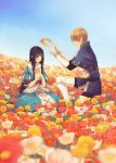 1girl black_hair blonde_hair blue_eyes dress field flower kneeling kurosujuu long_hair marchen schneewittchen short_hair sky smile sound_horizon tettere wreath