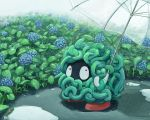 flower guodon holding hydrangea nature no_humans plant pokemon pokemon_(creature) rain tangela transparent_umbrella umbrella