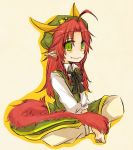 ahoge barefoot blush bow dragon_girl dragon_tail ex-meiling fang green_eyes hat hong_meiling hong_meiling_(dragon) horns long_hair pants pointy_ears red_hair redhead sitting smile solo star tail touhou v_arms yuuta_(monochrome)