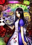? alice:_madness_returns alice_(wonderland) alice_in_wonderland american_mcgee's_alice black_hair blood cheshire_cat dice dress english flower green_eyes highres holding knife lips long_hair looking_at_viewer nidoro rose smile solo teeth