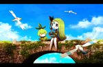 bird blue_eyes blush bridge cloud clouds green_hair hair_ornament harp instrument jewelry letterboxed meloetta music nintendo no_humans petilil pokemon pokemon_(game) ribero scenery sitting sky wingull