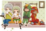 3boys antonio_lopez blonde_hair car child dragon_kid eating fire_emblem_(tiger_&_bunny) food green_eyes grey_hair hood hoodie huang_baoling im5364 jeans lowres motor_vehicle multiple_boys nikuman rock_bison superhero tiger_&_bunny time_paradox vehicle young yuri_petrov
