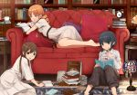 2girls alarm_clock bad_id barefoot black_eyes black_hair book bookshelf braid brown_eyes brown_hair clock couch cup dress drill_hair earrings jewelry koetama lamp long_hair looking_at_viewer lying multiple_girls official_art okiru on_stomach open_book open_mouth orange_eyes orange_hair payot pillow reading room sakimoto_wakaba saucer short_hair sitting smile