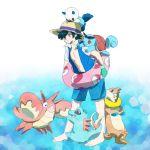 1boy black_hair buizel child corphish hat holding kyatan oshawott pokemon pokemon_(anime) pokemon_(creature) satoshi_(pokemon) squirtle totodile water