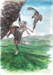 animal barefoot bird climbing forest graphite_(medium) hawk highres hill inubashiri_momiji kobushi mountain muscle nature pants scenery sky sleeveless solo tail touhou traditional_media watercolor_(medium)
