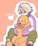 blonde_hair boned_meat dog food im5364 ivan_karelin jacket john_(tiger_&_bunny) letterman_jacket meat purple_eyes purple_jacket short_hair tiger_&_bunny violet_eyes
