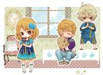 2boys blonde_hair blue_rose_(tiger_&_bunny) brown_eyes child dog dress flower hair_flower hair_ornament im5364 ivan_karelin john_(tiger_&_bunny) karina_lyle keith_goodman lowres microphone multiple_boys origami_cyclone puppy purple_eyes sandals shorts sky_high tiger_&_bunny violet_eyes young