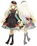 axe blonde_hair boots bow bunny dress elbow_gloves frilled_legwear gloves gothic gothic_lolita gradient_hair hair_ornament hidari_(left_side) holding lolita_fashion mayu_(vocaloid) multicolored_hair official_art piano_print rabbit rainbow_hair solo stuffed_animal stuffed_toy transparent_background vocaloid weapon white_background yellow_eyes