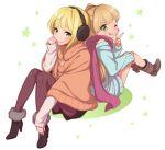 2girls :q back-to-back black_legwear blonde_hair blush boots earmuffs fur_trim green_eyes idolmaster idolmaster_cinderella_girls jougasaki_rika kanya_pyi long_hair miyamoto_frederica multiple_girls pantyhose scarf short_hair sitting sleeves_past_wrists smile star sweater tongue two_side_up v winter_clothes