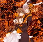 1girl alice_liddell animal_ears bow bunny_ears choker couple glasses gown halloween heart_no_kuni_no_alice hug orange_background peter_white rabbit_ears rin_(958) tail trick_or_treat white_rabbit