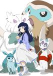 1girl abomasnow alternate_costume blue_eyes blue_hair dress froslass glaceon hair_ornament hikari_(pokemon) long_hair piloswine poke_ball pokemon pokemon_(creature) pokemon_(game) pokemon_dppt smile umanosuke